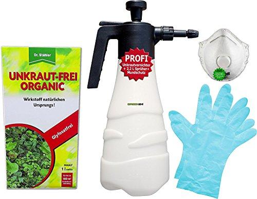 Dr Stähler Unkraut-Frei Organic 1 Liter im Profi-Set - Ein Total Unkrautvernichter im Set mit Drucksprüher 22L Handschutz Dosierer Mundschutz für Unkrautentferner