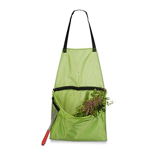 Relaxdays Ernteschürze Garten Gartenschürze für Ernte Sammelschürze Größe verstellbar für Gartenabfall Unkraut grün