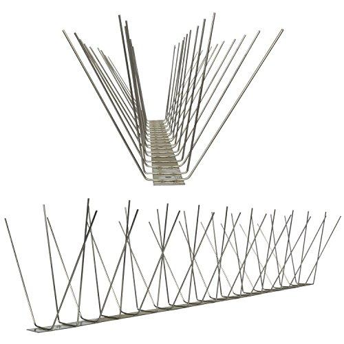 1 Meter am Stück Taubenspikes 4-reihig auf V2A-Standard - hochwertige Lösung für Vogelabwehr Taubenabwehr Edelstahl Spikes Leistenlänge 100 cm