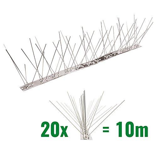 10 Meter Taubenspikes 5-reihig auf V2A-Flexleiste - hochwertige Lösung für Vogelabwehr Taubenabwehr Edelstahl Spikes