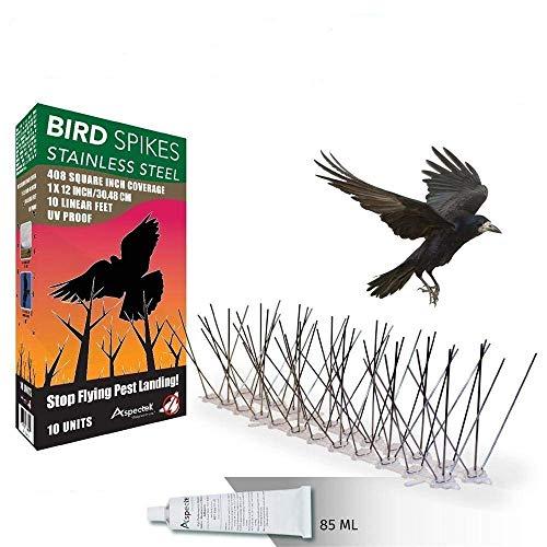 ORIGINAL Aspectek EDELSTAHL Vogel Taubenabwehr Vogelabwehr Taubenspikes Vogelspikes TOP QUALITÄT im 10er Set 3 Meter