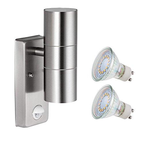 SEBSON Aussenleuchte mit Bewegungsmelder Wandleuchte Edelstahl up down inkl 2x GU10 LED Lampe 4W 35W kaltweiß