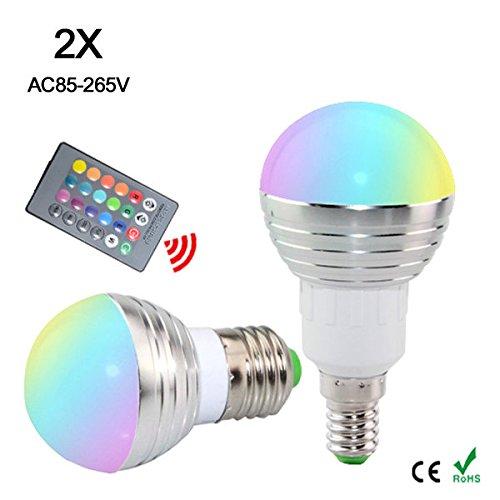 Bazaar Fernbedienung 16 Farbe AC85-265V E27 E14 LED Birne 5W LED RGB-Beleuchtung IR 2pc Dimmbare