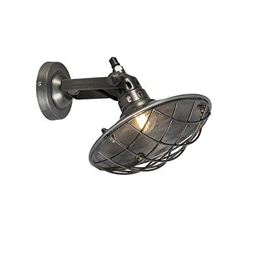 QAZQA IndustrieIndustrialLandhausVintageRustikal Wandleuchte Stradt zinkInnenbeleuchtungWohnzimmerlampeSchlafzimmerKüche Metall Rund LED geeignet E14 Max 1 x 25 Watt