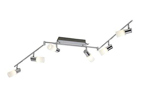 Reality Leuchten LED Wand-Deckenspot chrom und Alu gebürstet Glas gewischt inklusive 6 x E14 LED 4 W 300 lm 3000K weiß R87416105