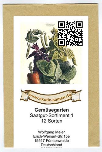Samen - Saatgutsortiment - Set - Mix - Mischung - kleiner Gemüsegarten Startset - 12 Sorten - 1380 Samen