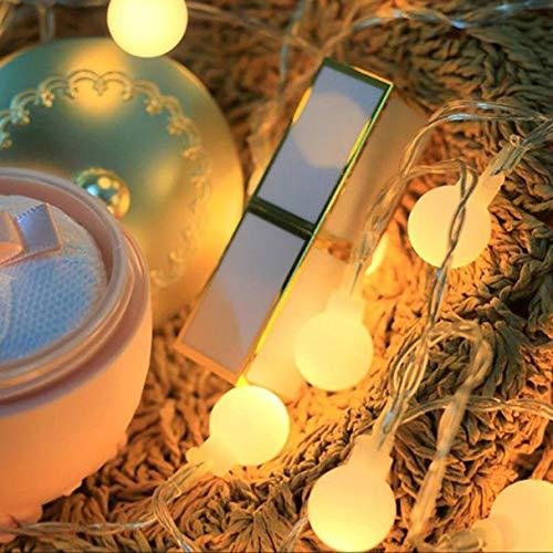 FeiliandaJJ Lichterkette String Lights 220V 5M 40pc Wasserdicht Outdoor Garden Schrub Weißer Ball Licht LED InnenAußen Hochzeit Party Halloween Weihnachten Haus Deko Gelb