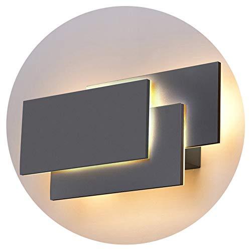 K-Bright LED Wandlampe24W Upgrade Version Moderne IP20 Wandleuchte LED Innen220VWarmweiß Leuchten Dekorative Licht Nachtlampe Für Schlafzimmer WohnzimmerAluminium MaterialDunkelgrau Schale