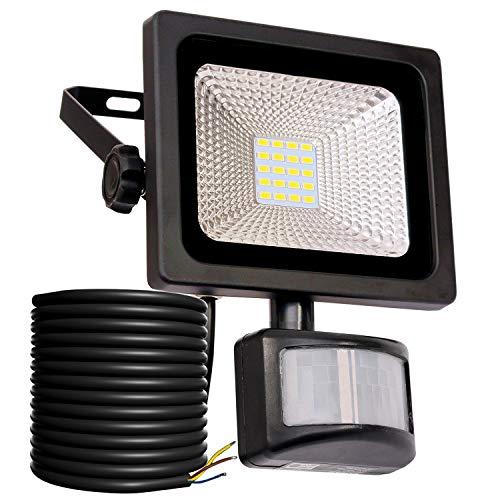 10W LED Strahler mit Bewegungsmelder LED Fluter IP66 wasserdicht Außenstrahler Flutlichtstrahler Aluminium Scheinwerfer 1000 LM superhell Licht 6000 K tageslichtweiß