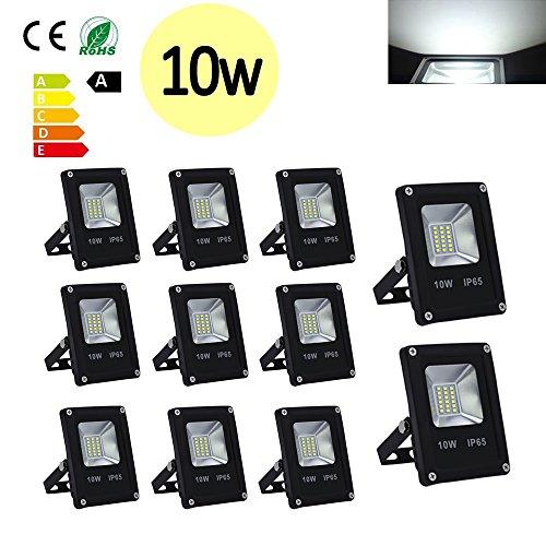 Hengda 10W SMD LED Strahler Fluter IP65 Flutlicht Leuchtmittel Scheinwerfer 85-260V AC Leuchtmittel Wandstrahler Außenstahler 10 Stück 10W KaltWeiss