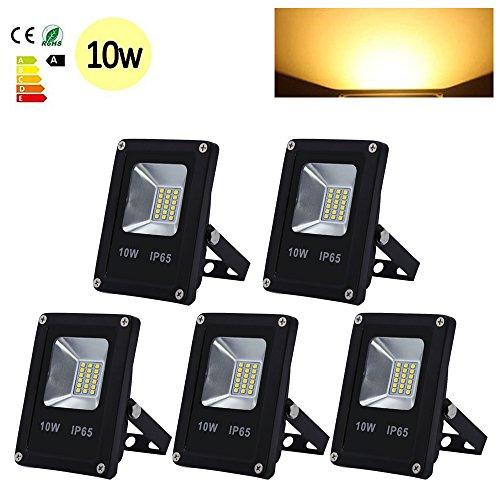 Hengda 5 Stück 10W SMD LED Strahler Fluter IP65 Flutlicht Leuchtmittel Baustrahler Scheinwerfer Warmweiß Wandstrahler Außenstahler Leuchtmittel 85-265V AC