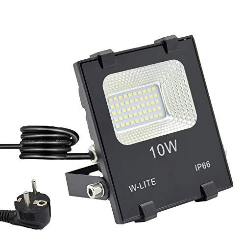 LED Strahler Außen Fluter 10W mit Zuleitung Aussenleuchte Wand mit EU-Stecker IP66 Wasserdicht Kaltweiß Superhell Wandstrahler Gartenlampe