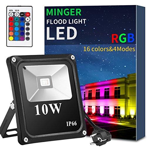 Minger LED Fluter RGB 10W Strahler Außen Mit 24 Tasten Fernbedienung 16 Farbwechsel Wasserdicht IP66 Spotbeleuchtung Garten Stimmungslichter