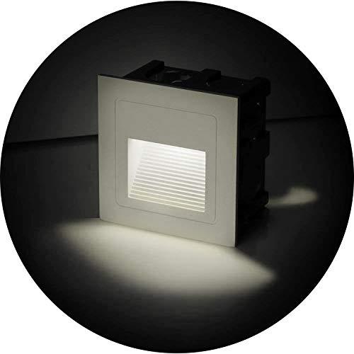 Topmo-plus 4er Set 3W LED Bodeneinbauleuchte StrahlerCree COB Bodenstrahler Aluminium Wand-Treppenlicht eckig mit Leuchtmittel wasserdicht weiß IP65 6 CM  236 inch Naturweiß