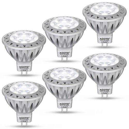 AGOTD LED MR16 12V GU53 Lampe Kaltes Weiß50W Halogenlampe Äquivalent7 Watt Glühlampen Hohe Helligkeit 6000K 50mm Durchmesser Aluminium560LM38 °DegGU 53 SockelSMD LEDS Strahler 6er Pack