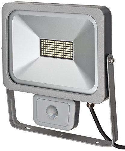Brennenstuhl Slim LED Strahler außen mit Bewegungsmelder Strahler zur Wandmontage Leuchte IP54 LED-Fluter mit 28 hellen SMD-LEDs Farbe silber