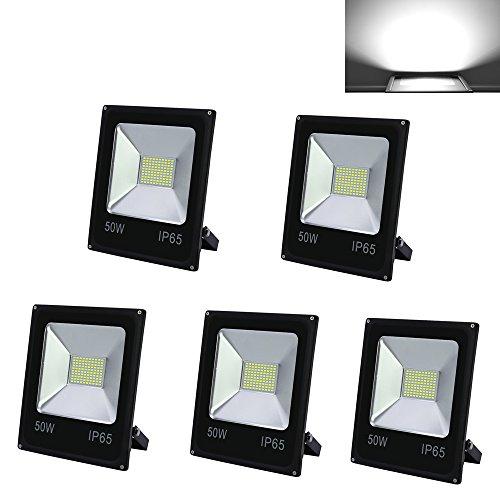 HG 5 Stück 50W LED Fluter SMD Strahler Außenleuchte IP65 Wasserdicht Beleuchtung Kaltweiss Fassadenstrahler Leuchtmittel Energieklasse A