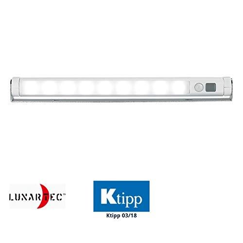 Lunartec LED Leiste Batterie LED-Lichtleiste mit PIR-Bewegungsmelder 9 SMD-LEDs tageslichtweiß LED Licht mit Bewegungsmelder