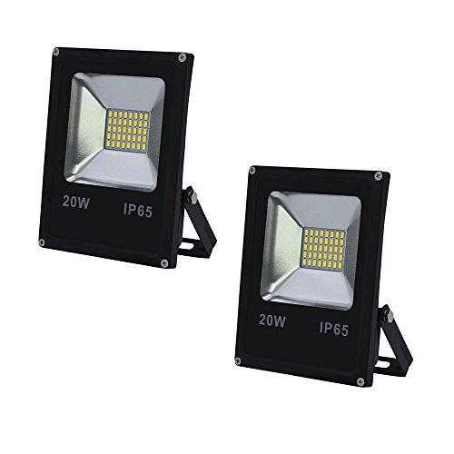 VINGO 2X 20W LED Fluter Flutlicht Kaltweiß Außen Strahler SMD IP65 Gartenstrahler