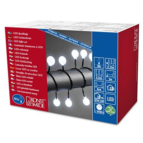 Konstsmide 3696-207 LED Globelichterkette mit großen runden Diodenfür Außen IP44  24V Außentrafo  80 kalt weißen Diodenschwarzes Kabel