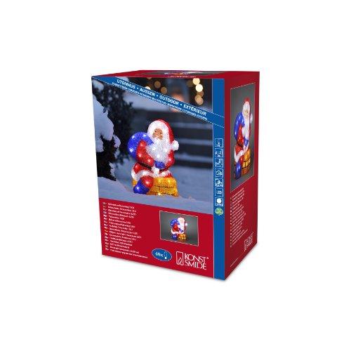 Konstsmide 6172-203 LED Acrylfigur Weihnachtsmann mit Schornstein  für Außen IP44   24V Außentrafo  48 kalt weiße Dioden  transparentes Kabel
