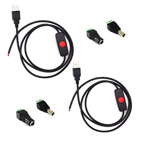2pcs  paket schwarz 1 Mt  328ft 5 V USB Schalter Taste Verlängerungskabel Led-streifen-licht-anschluss Mit Universal USB Adapter für DC 5 V 2Pin 50503528 LED Stripconnector für TVPC