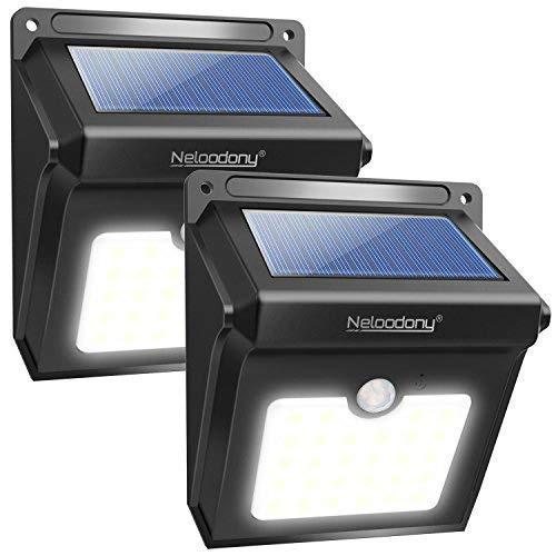 2Pack 28 LEDs Solarleuchten für Aussen Neloodony 400 Lumen Superhelle mit Bewegungsmelder Wasserdichte Solarleuchte Garten Solarlampe für Wände Auffahrt InnenhofHofFlurVeranda