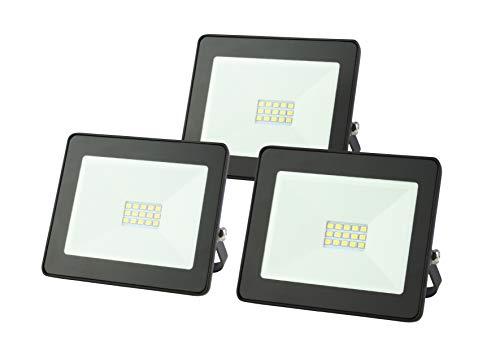 3x LED Flutlicht EMOS 10W  800 Lumen LED Fluter Floodlight Strahler Scheinwerfer Außenstrahler Wandfluter staub- und wasserdicht Schutzklasse IP65 schwarz 3 Stück im Set