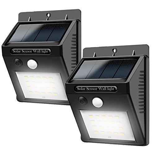 LED  Solarleuchten  mit  BewegungsmelderAdkwse Solarleuchte Außen20 LEDs Solar Aussenleuchte 400 Lumen Solarlampe für GärtenTüreFlurWegeTerrassen2-Stück