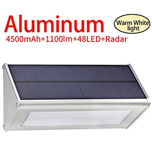 Licwshi 1100 Lumens Solarleuchten 48 LED 4500mAh mit Aluminiumlegierungsgehäuse Wasserdichtkeit im Freien Radar-Bewegungsinduktion es ist geeignet für Laubengang Garten Garage -warm weißes Licht