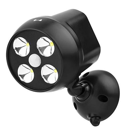 NICREW Außenleuchten Mit Sensor Drahtlose Sicherheit Bewegungsmelder Licht 600-lumen 4-LED Wetterfest Batteriebetrieben Wandleuchte Strahler Sicherheitslicht im Freien Für Outdoor