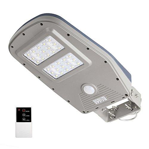 TSSS LED wasserdichte solar straßenleuchte Bewegungsmelder laterne mit Fernbedienung 30 LEDs und 1000 Lumen 12000mAh PIR Wireless Sicherheitsbeleuchtung für Garten Wege Park Einfahrten