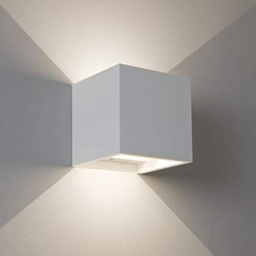 Wandleuchte LED Würfel mit verstellbarem Winkel Licht Up Down weiß Modern Wasserdicht für Innen und Außen Wandleuchte Aus Aluminium mit 8 W 810 Lumen LED Natürliches Licht Up Down