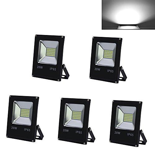 HG 5 Stück 20W SMD LED Strahler Fluter IP65 Außen Scheinwerfer Kaltweiß Baustrahler Flutlicht Leuchtmittel Wandstrahler
