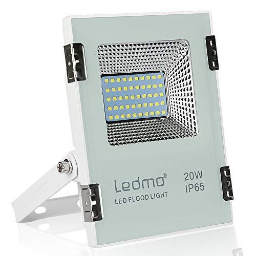 LEDMO 20W Led strahler außen 1900LM led fluter aussen 6000K Kaltweiß IP65 Wasserdicht led scheinwerfer Aluminiumgehäuse