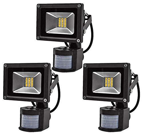 Leetop 3X 20W LED SMD Strahler Fluter Außen Strahler mit PIR Bewegungsmelder Fluter IP65 Aluminiumkörper Schwarz Warmweiß