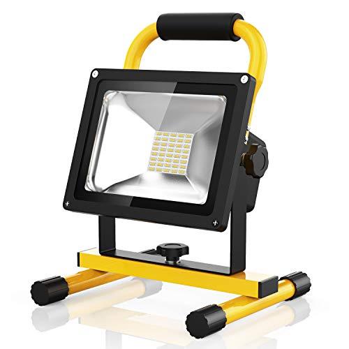 Profi LED Akku Strahler Lampe Baustrahler 20W Akkulampe 2100 Lumen 8 Stunden leuchten 100 Helligkeit Garantie 20W kaltweiß