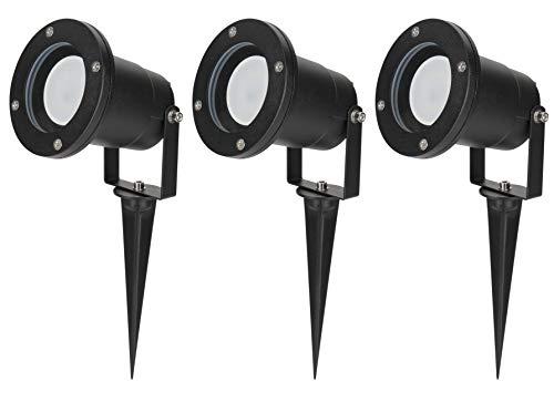 3er Set Gartenleuchte Diego 230Volt LED 5Watt TÜV GS warmweiss GU10 IP65 schwarz wasserdicht schwenkbar Spießleuchte Dekobeleuchtung Baumbeleuchtung Erdspieß Leuchtmittel austauschbar rostfrei