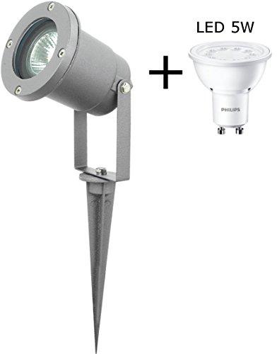 Outdoorstrahler silber inkl Philips LED 5W  Aluminium- Druckgusskörper und hochwertiger Glasabschirmung  Gartenstrahler  Erdspieß  Wasserdicht IP44 LED GU10 Licht Strahler Außenstrahler