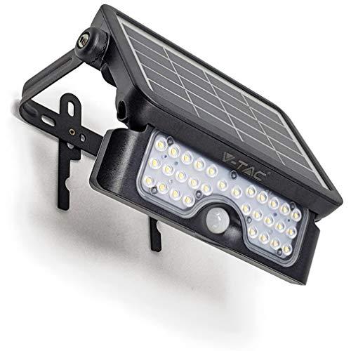 Solar LED Strahler Fluter Solarlampe für aussen - 5W - Bewegungsmelder - 500lm - 180° - 37V Lithium Battery 3000 mAh - 4000K