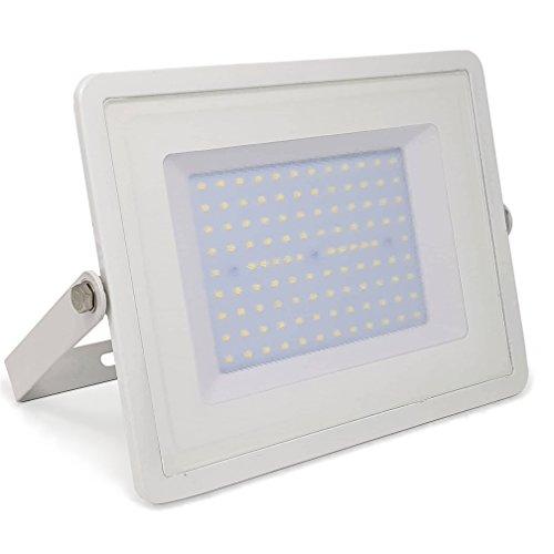 ZONE LED - 100W - LED Strahler LED Fluter - Warmweiss 3000K - 8500 Lm - Entspricht 500W - Abstrahlwinkel 110° - Weisser Körper - inkl LED Schlüsselanhänger