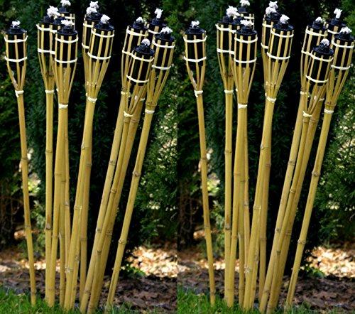 12 Gartenfackeln Fackeln 90 cm Naturfarbe Bambus Umweltfreundlich  Lange Brenndauer - Nachfüllbar  Bambusfackel Ölfackel für Garten  Terrasse