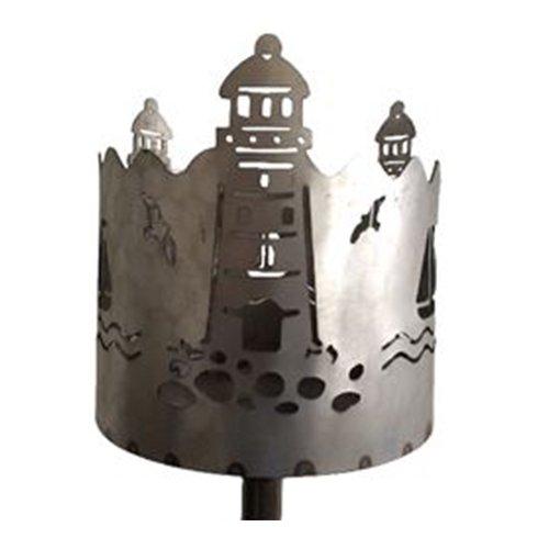 Gartenfackel auf Stecker Leuchtturm aus Metall Höhe 128 cm  Ø 15cm INKL 2 Holzbrennelementen Garten Sommer Fackel Windlicht Feuerschale