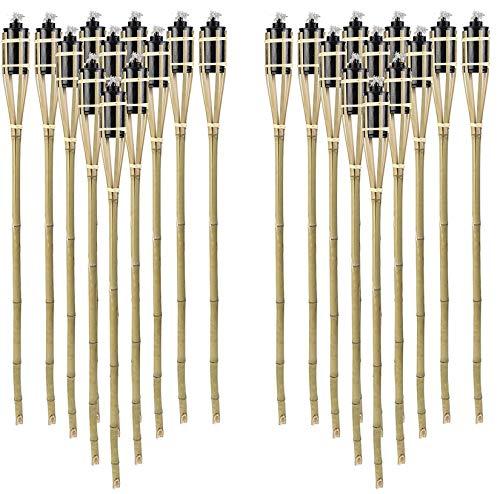 STAR - LINE 24 Stück Gartenfackel Bambusfackel 90 cm Naturfarbe aus Bambus inkl Docht  Tank für draussenGarten Lampe Öllampe