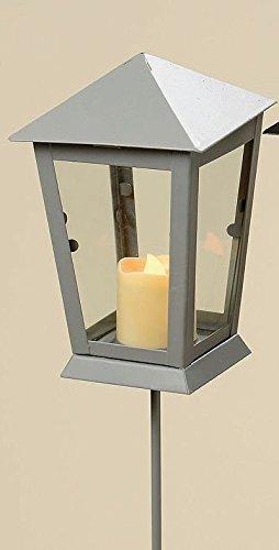 LED Laterne inkl Erdspieß und Teelicht  Batterie  Silber Anthrazit Kerze Gartenstecker Deko