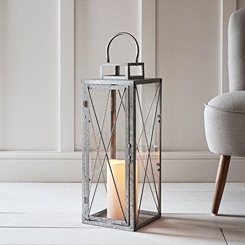 Silberne Metall Laterne St Austell inklusive LED Kerze Timer verzinkt 60cm Lights4fun