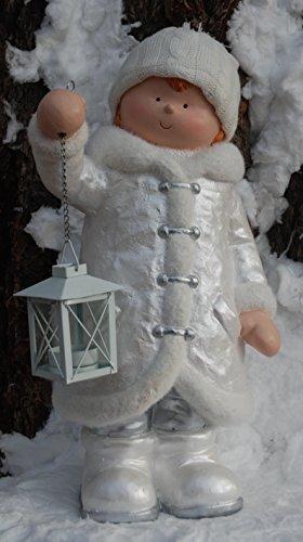 Unbekannt Winter Dekofigur Junge mit Laterne - Weihnachten Windlicht Wollmütze Silber