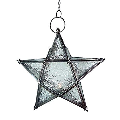 Zum Aufhängen IndischesMarokkanisches Eisen Glas Laterne Teelichthalter Home Garden verschiedenen Ausführungen und Größen metall silber Small star hanging lantern 20x20x 6cm