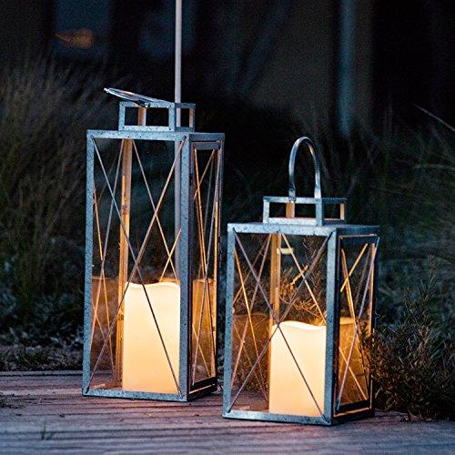 2er Set Silberne Metall Laternen St Austell LED Kerze Timer 60cm 34cm Lights4fun