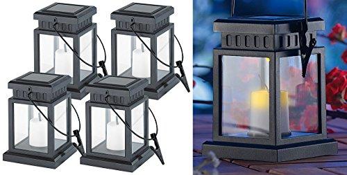 Lunartec Solar Deko Laternen 4er-Set Solar-LED-Laternen in asiatischem Design zum Aufhängen Akku Gartenlaternen